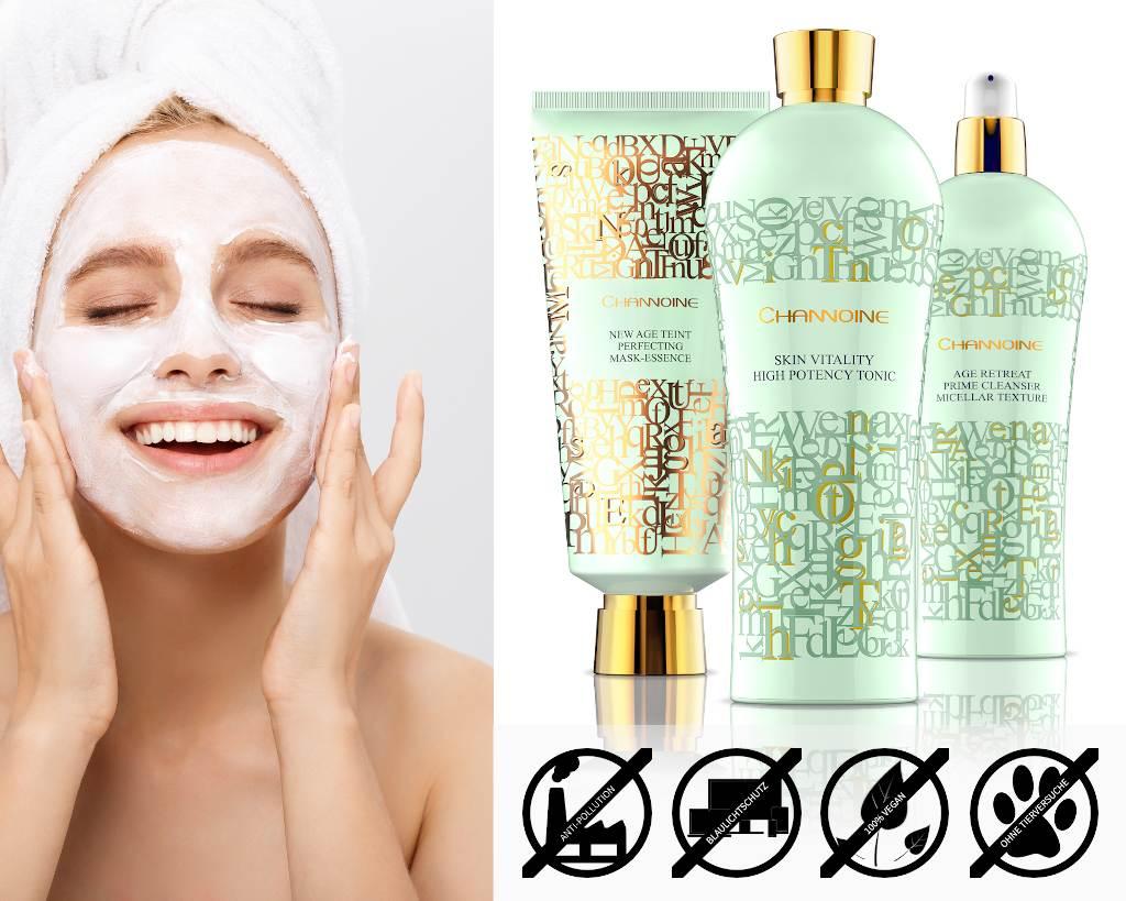 Hocheffiziente und pflegende vegane Gesichtsreinigung mit Gesichtswasser, Gesichtsreinigung und Gesichtsmaske