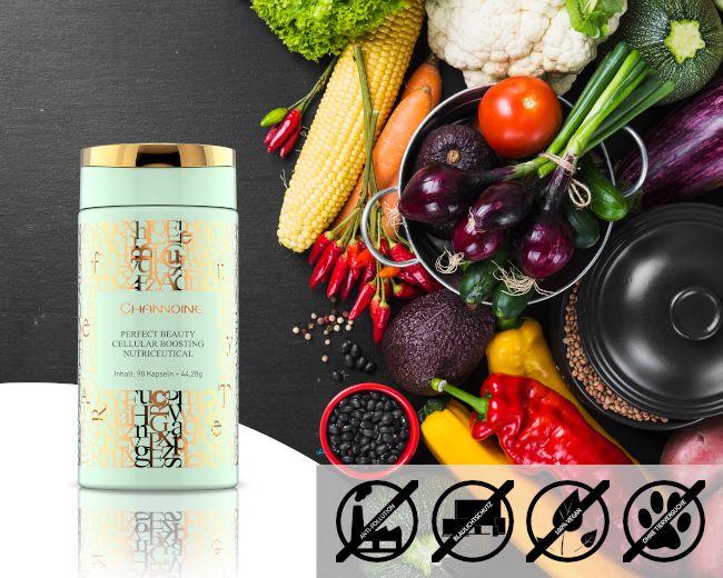Vegane Kapseln mit Hyaluronsäure, Q10 und Astaxanthin für die Schönheit von innen